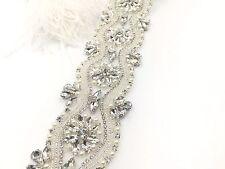Gorgeous Motif Beaded Bridal Rhinestone Applique Diamante Wedding Applique trim