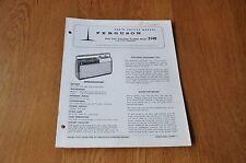 Ferguson 3140 Auto Twin Transistor Portable Radio Vintage Sevice Manual