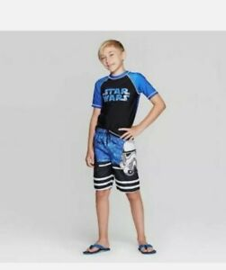 UPF50+ STAR WARS: THE FORCE AWAKENS RASH GUARD SWIM SHIRT BOYS Size: XS