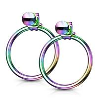 Pair of Rainbow 316L Stainless Steel Hollow Ball with Hoop Back Earrings