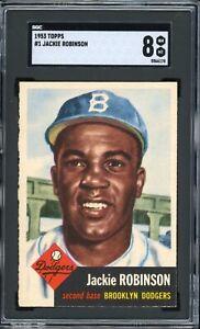 "Jackie Robinson 1953 Topps Brooklyn Card #1 SGC 8  ""High-End Dead Centered* PSA"