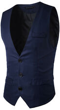 Mens Formal Business Fashion Pure Solid Color Dress Vest Suits Tuxedo Waistcoats