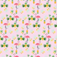 Printed Bow Fabric A4 Canvas Pineapples and Flamingos PF1 Make glitter bows