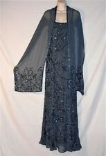 NEWPORT NEWS - VINTAGE HOURGLASS GOWN & SHAWL – PEWTER – BEADED – SIZE 10 - EVC