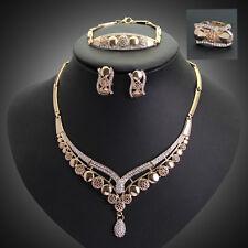 18k Gold Filled Austrian Crystal Leaf Necklace Pendant Earrings Jewelry Set Ww10