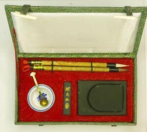 Sumi Calligraphy Set in Silk Covered Box Medium  size