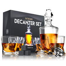Premium Glass Decanter Set with 4 Glasses, 9 Cooling Whiskey Stones & Funnel