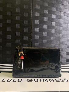 Lulu Guinness Women's Black T Seam Pouch W/Lipstick Zip Puller-Defective Box(56)