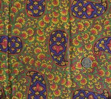 "Cotton Multipurpose Fabric LARGE PAISLEY & Floral on Green 44""W x 2½ Yards"