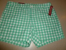 NWT Merona Womens Chino Shorts Tumble Green Plaid 100% Cotton sz 12