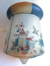 SUPERBE globe Art Déco, lanterne en verre craquelé peint de pagodes et d'oiseaux