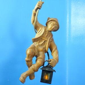 "10"" Antique German Black Forest Wood Carved CHANDELIER Bavarian Mountain Climber"