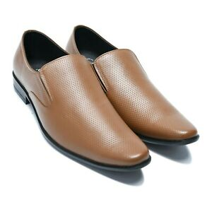 Men's Fashion Brown Leather Slip-On Casual Shoes (AU/UK Size)