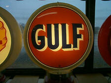 gas pump globe GULF repro. 2 glass faces & light stand NEW