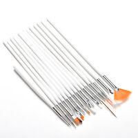 15pcs Nail Art UV Gel Design Brush Set Painting White Pen Manicure Tips Tool