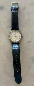 Bulova Men's Watch White Face with Black leather band