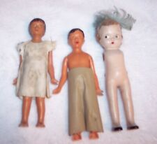 "Vintage Lot Of 3 Old Dolls Bisque & 2 Hard Plastic 5"" Ntlc"
