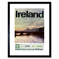Travel Tourism Transport Ireland Airline Dublin Framed Print 12x16 Inch