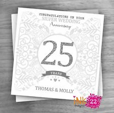 Personalised Unique Handmade Milestone 25th Silver Wedding Anniversary card