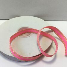 "3/8"" Grosgrain w/stitched Edge Ribbon - 375-04 -Fuschia/Lime stitching - 5 Yds"