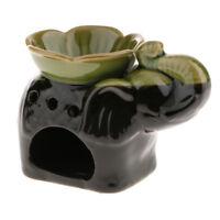 14cm Ceramic Elephant Oil Burner Assorted Incense Cones Candle Holder Green