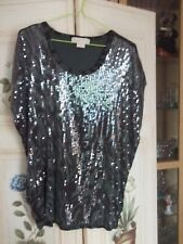 MICHAEL KORS TOP  GREEN  ANIMAL PRINT  WITH SEQUINS 1X  UNWANTED GIFT