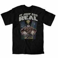 Adult Men's Marvel X-Men Wolverine Distressed It Just Got Real Black T-shirt Tee