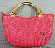 Pier Giorgio Red Straw Woven Purse Hand Bag Made in Italy Wood Handle Classic