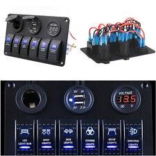 12V 6 Gang Car Marine Boat Circuit RV LED Rocker Switch Panel Breaker Voltmeter