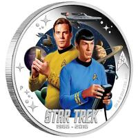 2016 Star Trek 50th Anniversary Captain Kirk & Mr. Spock $1 Silver Proof Coin