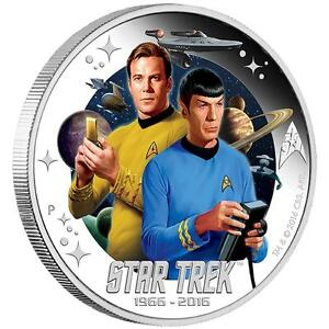 2016 Star Trek 50th Anniversary Captain Kirk & Mr. Spock $1 Silver Proof Coin