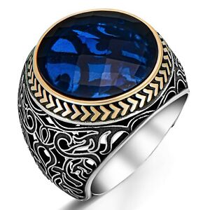 Solid 925 Sterling Silver Filigree Design Round Blue Zircon Stone Men's Ring