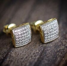Iced Bling 14k Gold Square Stud Earring Men 925 Sterling Silver 8Mm Lab Diamond