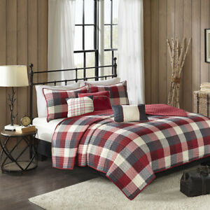 BEAUTIFUL COZY MODERN LODGE LOG CABIN RED GREY WHITE STRIPE PLAID SOFT QUILT SET