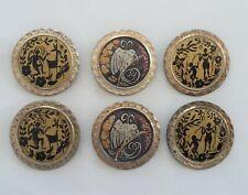 Lot Anciens Bijoux 6 Broches en Plastique Peint Oiseau Personnages Forêt