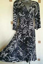 DRESS 16 44 LARGE GREY PRINT STRETCH WORK OFFICE OCCASION W BHS NEW RRP £35
