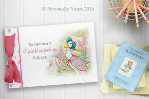 PERSONALISED JEMIMA PUDDLE DUCK - BABY GIRL CHRISTENING - BABY SHOWER GUEST BOOK