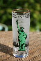 VINTAGE LARGE NEW YORK CITY STATUE OF LIBERTY GOLD RIM SHOT GLASS
