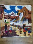 "Peruvian Vintage Village Folk Art Hand Woven Wool Wall Hanging Tapestry 36""x 36"""