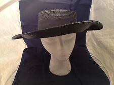 Vintage Ladies Hat Betmar Plaza Suite Blue Woven Straw W/ Grosgrain Ribbon /Bow