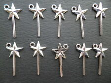 10 X MAGIC FAIRY WANDS SILVER TONE CHARMS, CRAFTS  PENDENTS 25mm by13mm