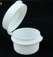 25 Cosmetic Hinged Jars 5 Gram Empty Plastic Beauty Containers Pot 5 Ml White
