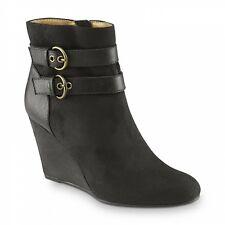 Jaclyn Smith Women's Ellis Black Wedge Bootie Shoes 30614 Size 10 Medium