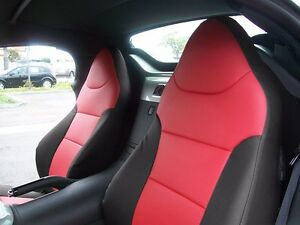 SATURN SKY 2007-2010 BLACK/RED S.LEATHER CUSTOM MADE FIT FRONT SEAT COVER