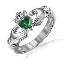 Emerald Green Heart Irish Claddagh Simulated Diamond Sterling Silver Ring
