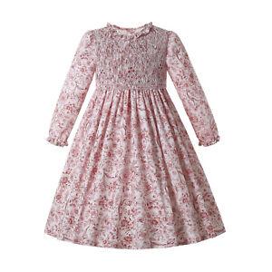 Pettigirl Girls Smocked Dress Christmas Party Floral Dresses 2 3 4 5 6 8 10 12