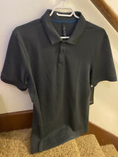 Nwt Lululemon Tech Pique Polo Shirt Obsi Obsidian Sz S Small Dark Grey