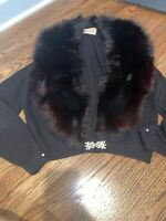 Vintage Womens Fur Trimed Shawl