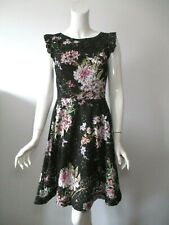 ERI+ALI Anthropologie Nevaeh Black Floral Lace Cut Out Sleeveless Dress 6/8