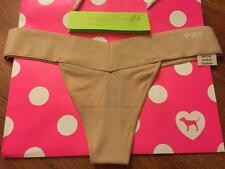L Victoria Secret PINK Smooth Seamless Yoga Thong Panty NUDE NWT LARGE